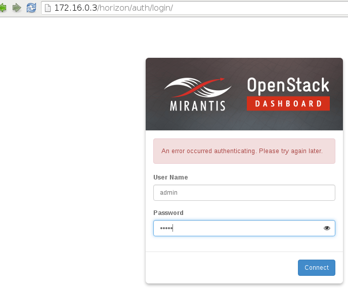 Mirantis Fuel 8 0: cannot login to Horizon dashboard  - Ask