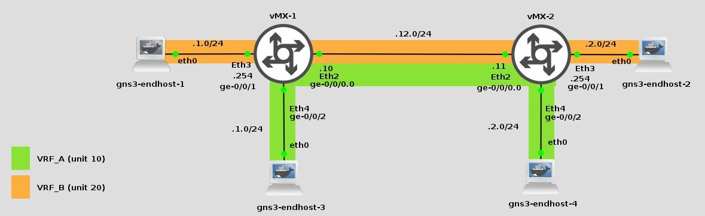VRF-lite junos vMX 14.1R4.8